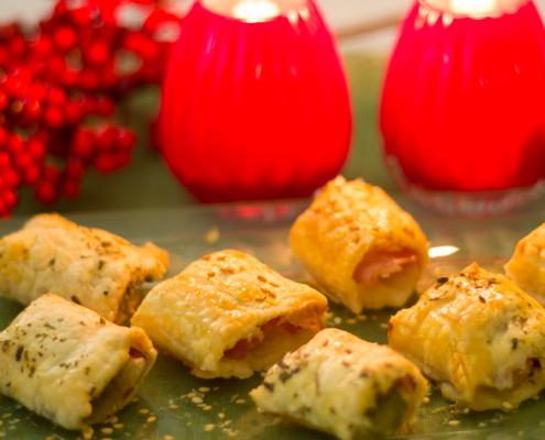 entrantes de navidad: hojaldres rellenos salados