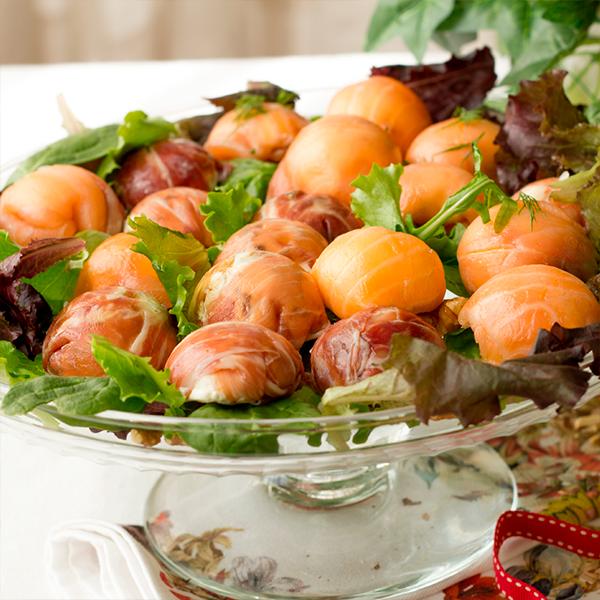 bombones de salmón y bombones de jamón