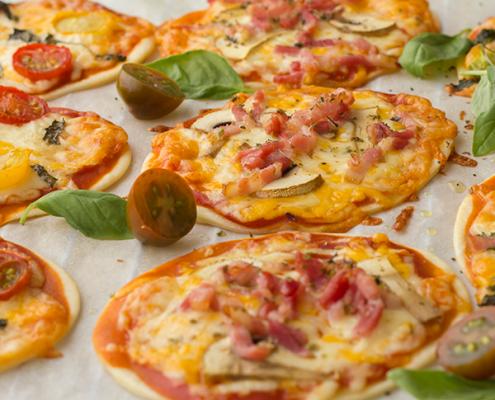 mini pizzas con obleas