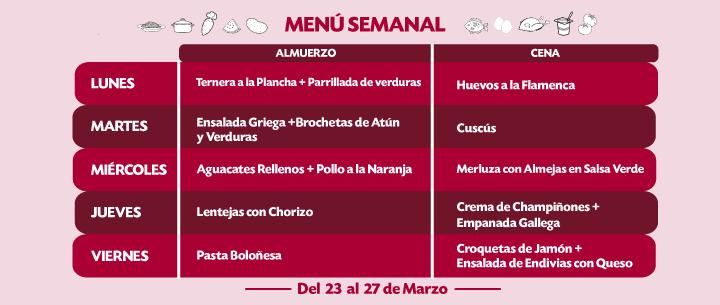 menu semanal del 23 al 27 marzo