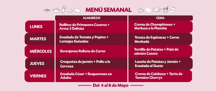 menu semanal recetas del 4 al 8 mayo