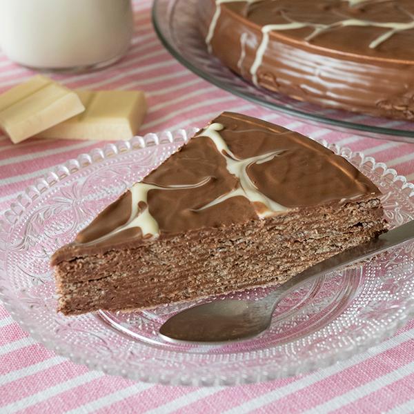 tarta de obleas con chocolate