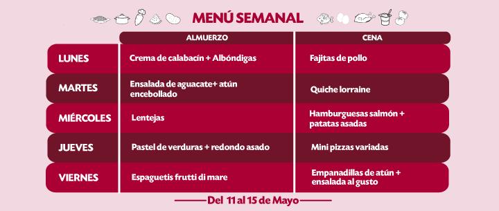 Menú Semanal del 11 al 15 Mayo