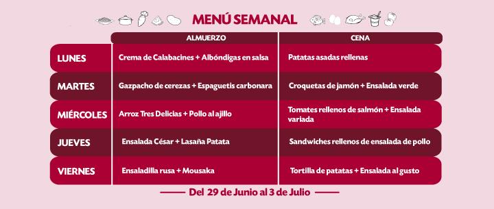 Menú Semanal del 29 junio al 3 julio