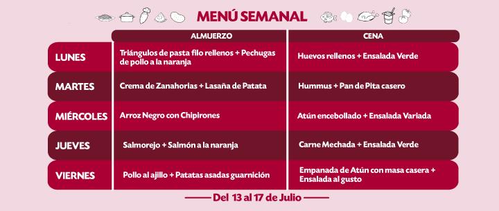 Menú Semanal del 13 al 17 julio