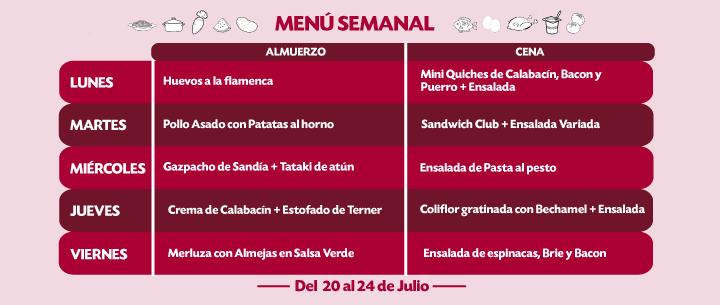 Menú Semanal del 20 al 26 julio