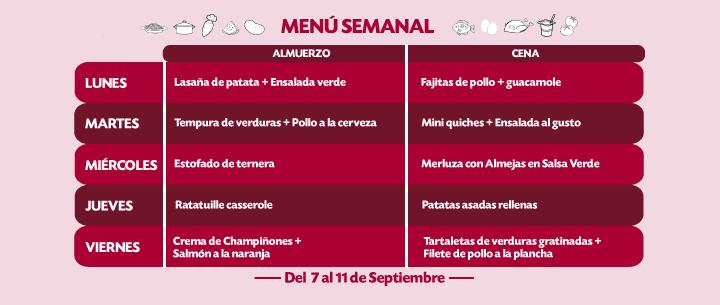 Menú Semanal del 7 al 11 sept