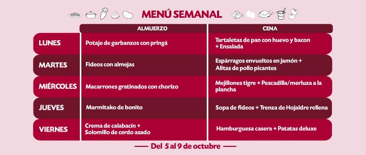 Menú Semanal del 5 al 9 octubre