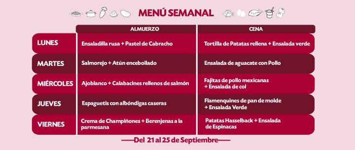 Menú Semanal del 21 al 25 sept
