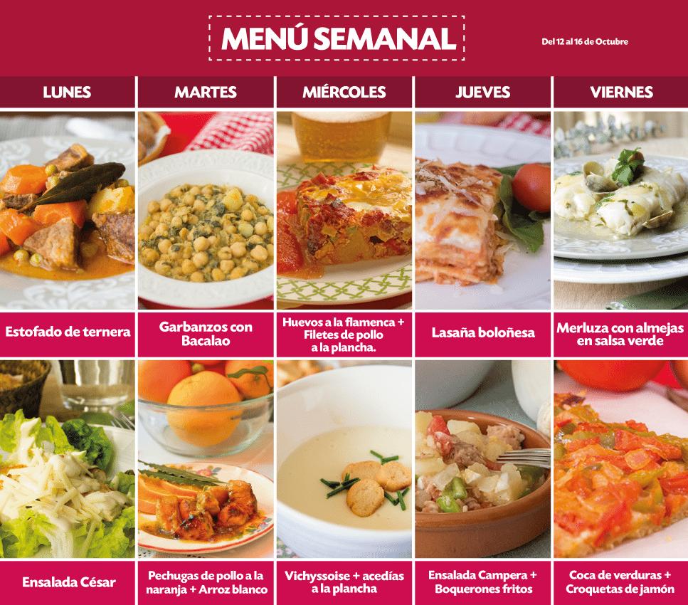 Recetas trucos de cocina receta men semanal del 2 al 6 - Menus para comidas familiares ...