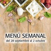 Menú Semanal del 28 septiembre al 2 octubre