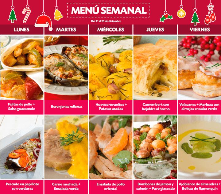 Menú Semanal del 21 al 25 de diciembre