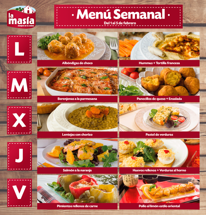 Recetas receta de la semana receta men semanal del 8 al for Menu para comida familiar
