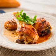 pollo asado con glaseado de miel y vinagre balsámico
