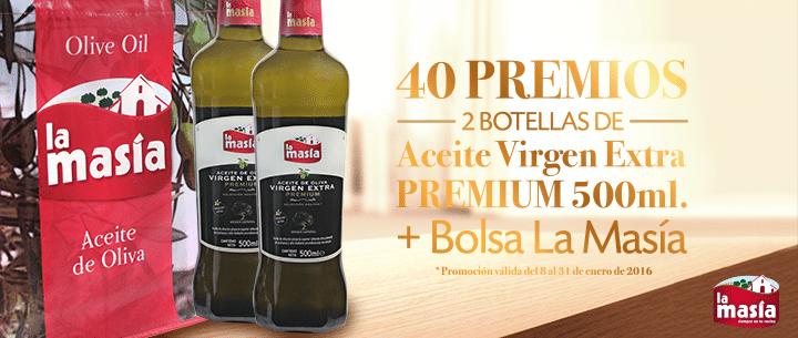 Promoción Aceite Premium 500 ml. + bolsa La Masía