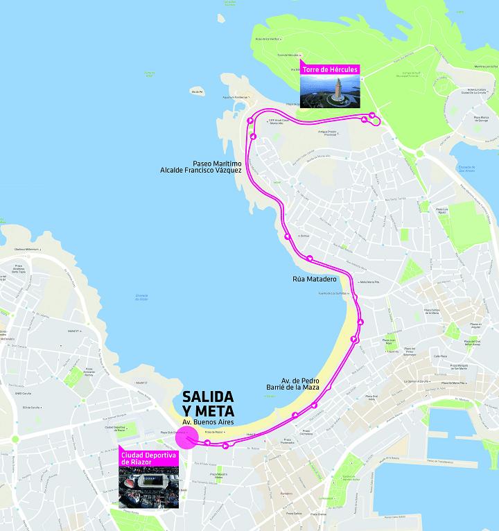 Recorrido de la Carrera de la Mujer A Coruña