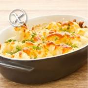 Coliflor gratinada con pollo, bechamel y queso sin gluten