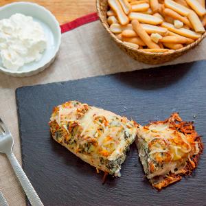 pollo relleno de queso y espinacas