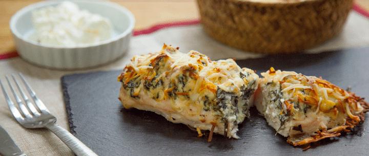 Pollo relleno de espinacas y queso