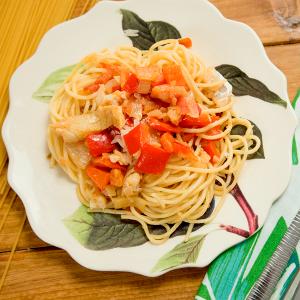 espaguetis con bacalao