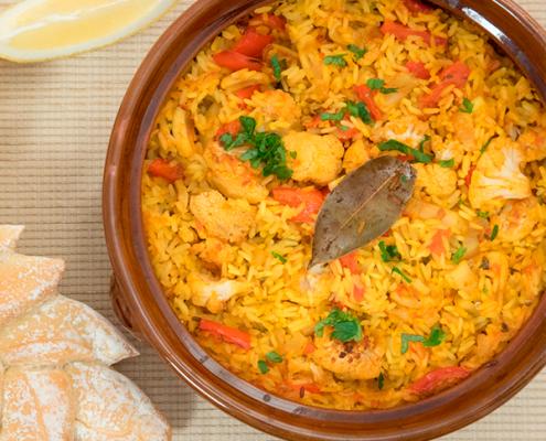 arroz al horno con coliflor y sepia