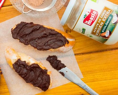 crema de cacao casera con aceite de coco