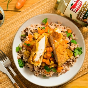 Pollo al curry rebozado