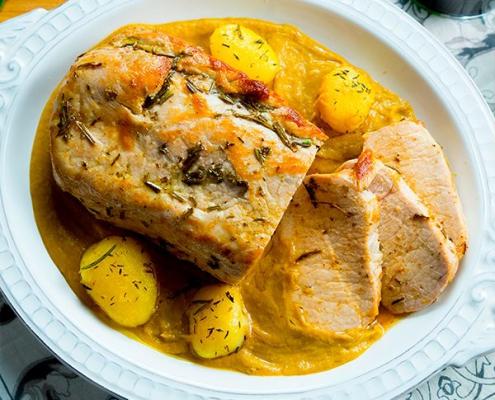 lomo de cerdo con salsa de castañas