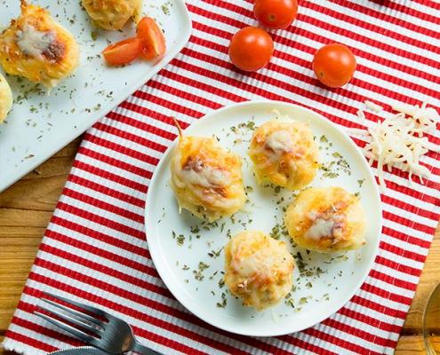 huevos rellenos de bacalao y verduras