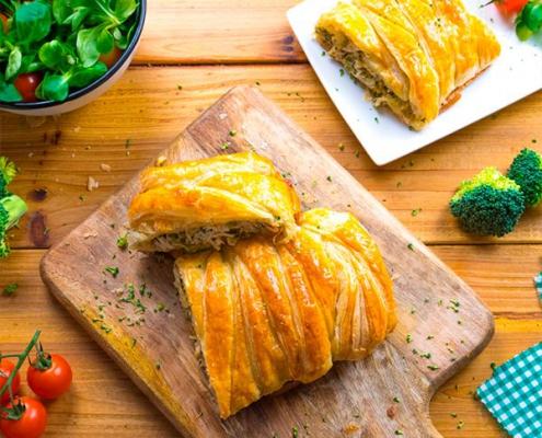 trenza de pollo y brócoli