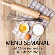 Menú semanal del 28 de sept. al 2 de octubre
