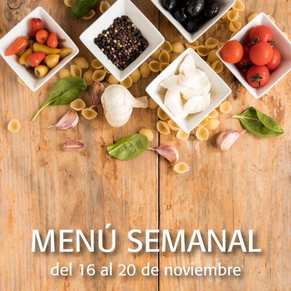 Menú semanal del 16 al 20 de noviembre