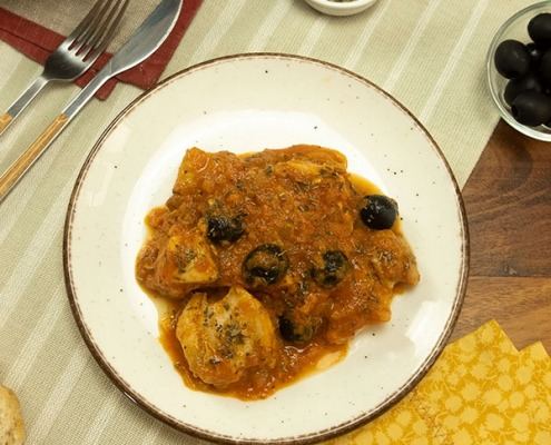 Pollo con aceitunas a la provenzal