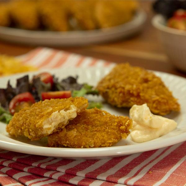 Empanadillas de pollo, miel y mostaza