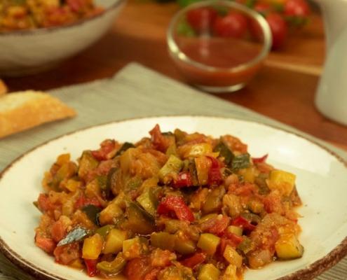Ratatouille con salsa agridulce