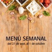 menú semanal del 27 de septiembre al 1 de octubre